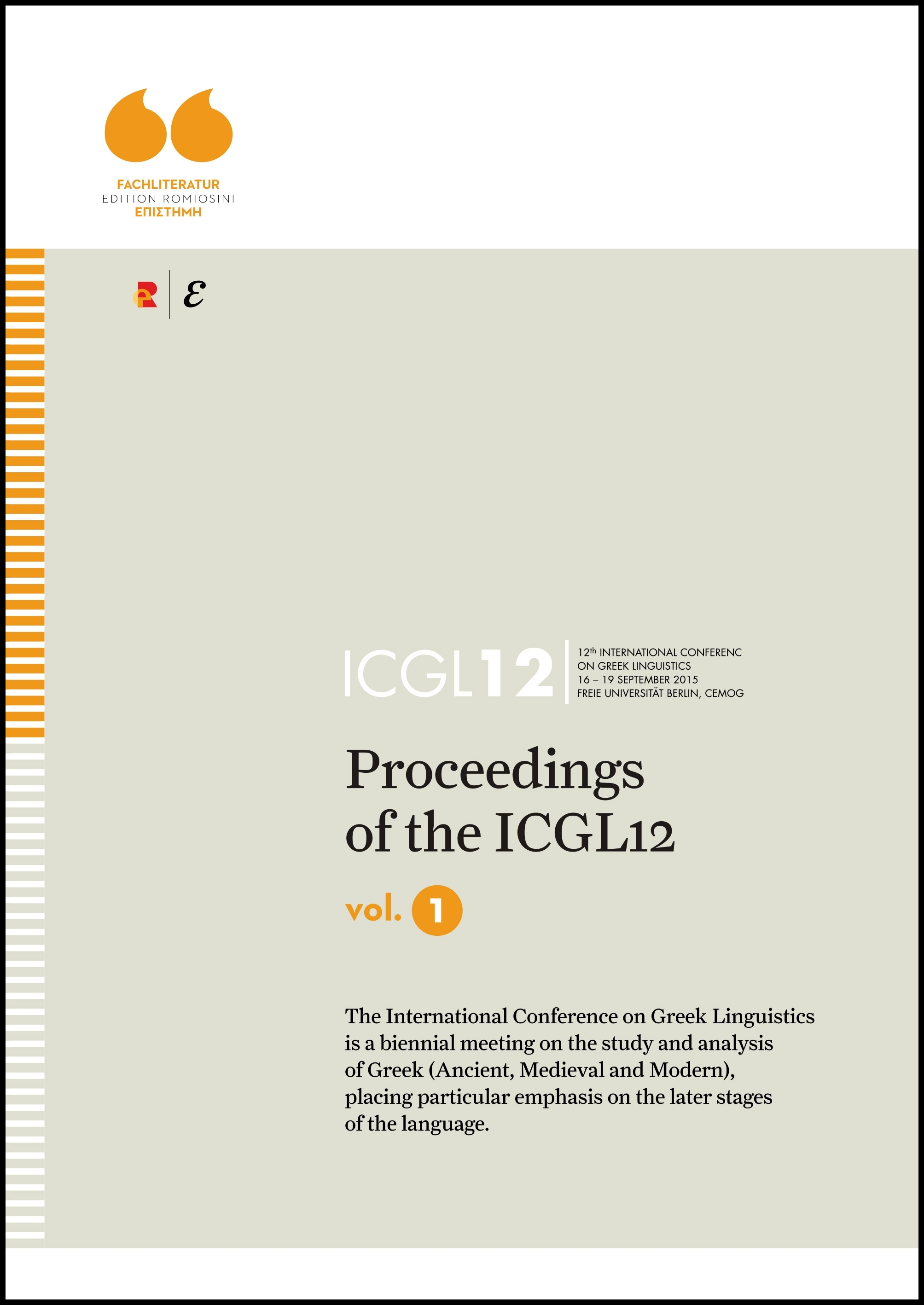 Titelbild für Proceedings of the ICGL12, Vol. 1